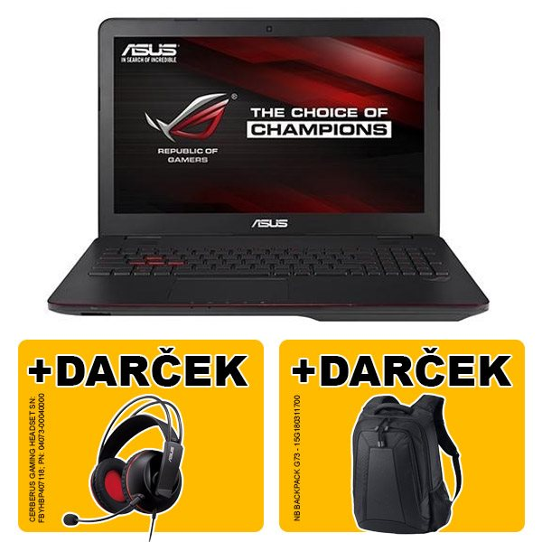 "ASUS G551VW-FW074T i5-6300HQ(3.20GHz) 8GB 256GB SSD 15.6"" FHD matný GTX960 2GB BluRay Win10 čierna 2r"