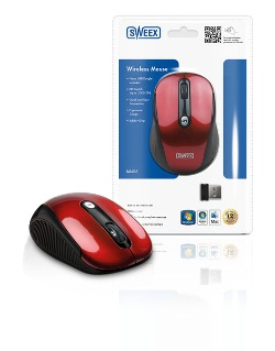 SWEEX bezdrátová optická myš USB Red Basics
