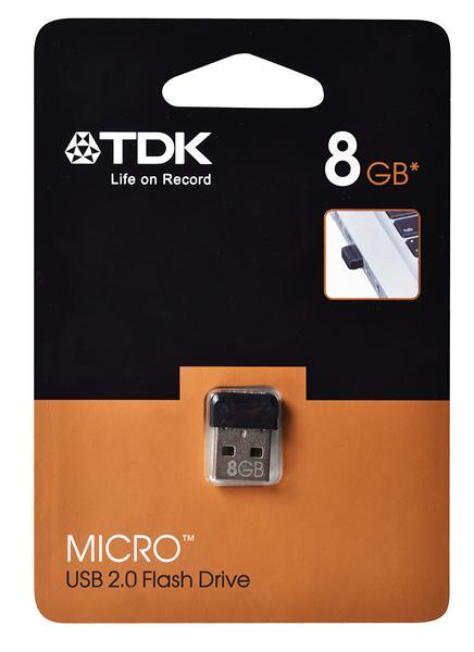 8GB . USB kľúč . TDK Micro, čierny, záruka 5 rokov.