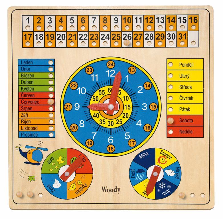 Hračka Woody Víceúčelový kalendář s hodinami a barometrem