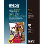 Epson Value Glossy Photo Paper, foto papier, lesklý, biely, 10x15cm, 183 g/m2, 100 ks, C13S400039,