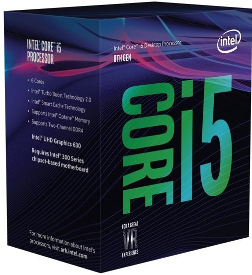 Intel® Core™i5-8400 processor, 2,80GHz,9MB,LGA1151 BOX, HD Graphics 630 BX80684I58400SR3QT